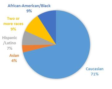MAT program demographics chart of the total 86 students of which there are 25 minority students.