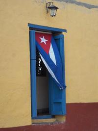 Cuban Flag in Doorway