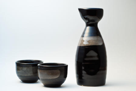 Japanese Saki Cups And Ceramic Bottle For Drinking Rice Wine Stock ...