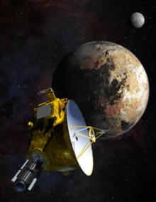 Illustration of New Horizons space craft with Pluto and Pluto's moon in the background
