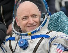 close up shot of astronaut Scott Kelly smiling
