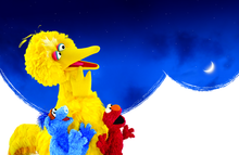 Big Bird Elmo and Hu Hu Zhu looking at the Moon and Stars