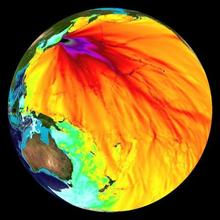Earth overlaid with a colorful data map