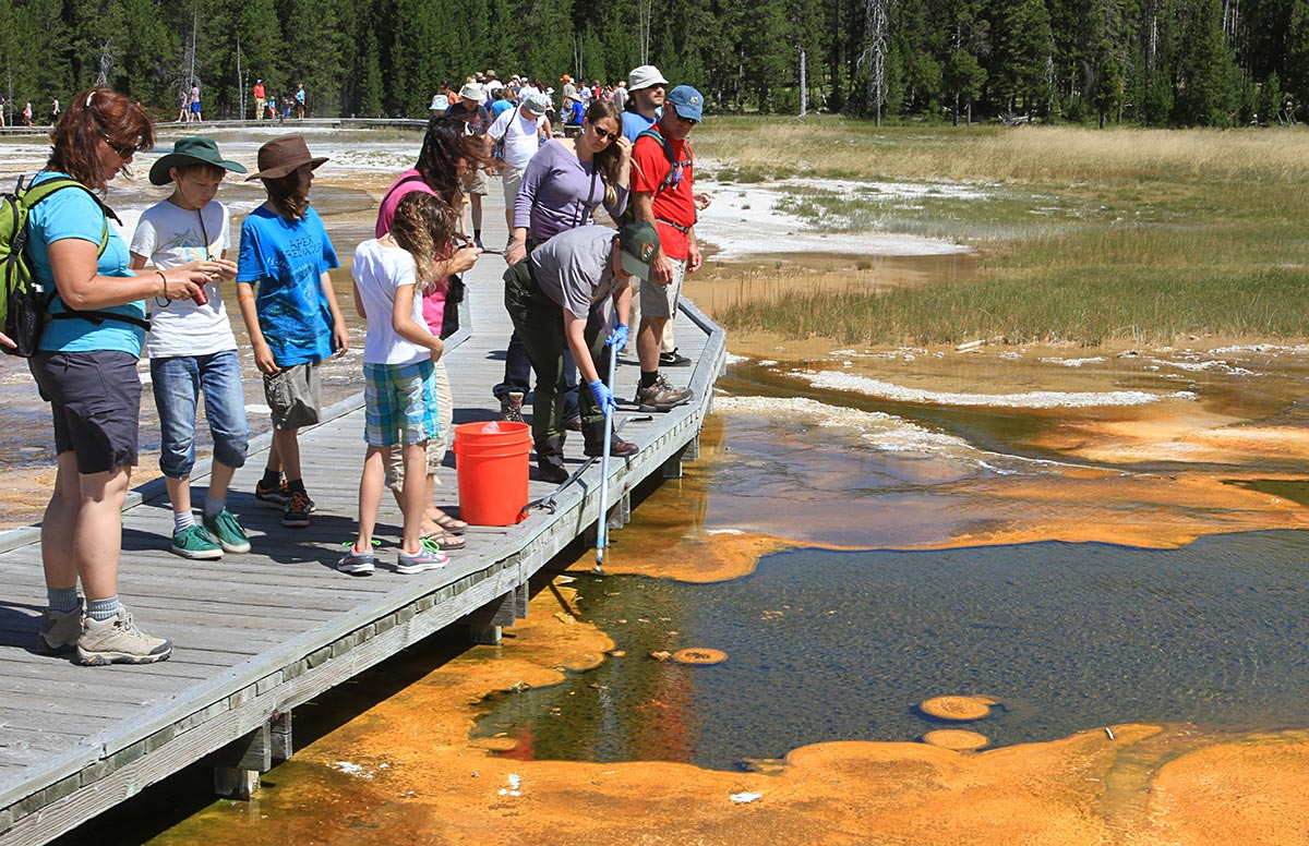 adults and children stand on a short pier and watch a park ranger collect a water sample from a wetland