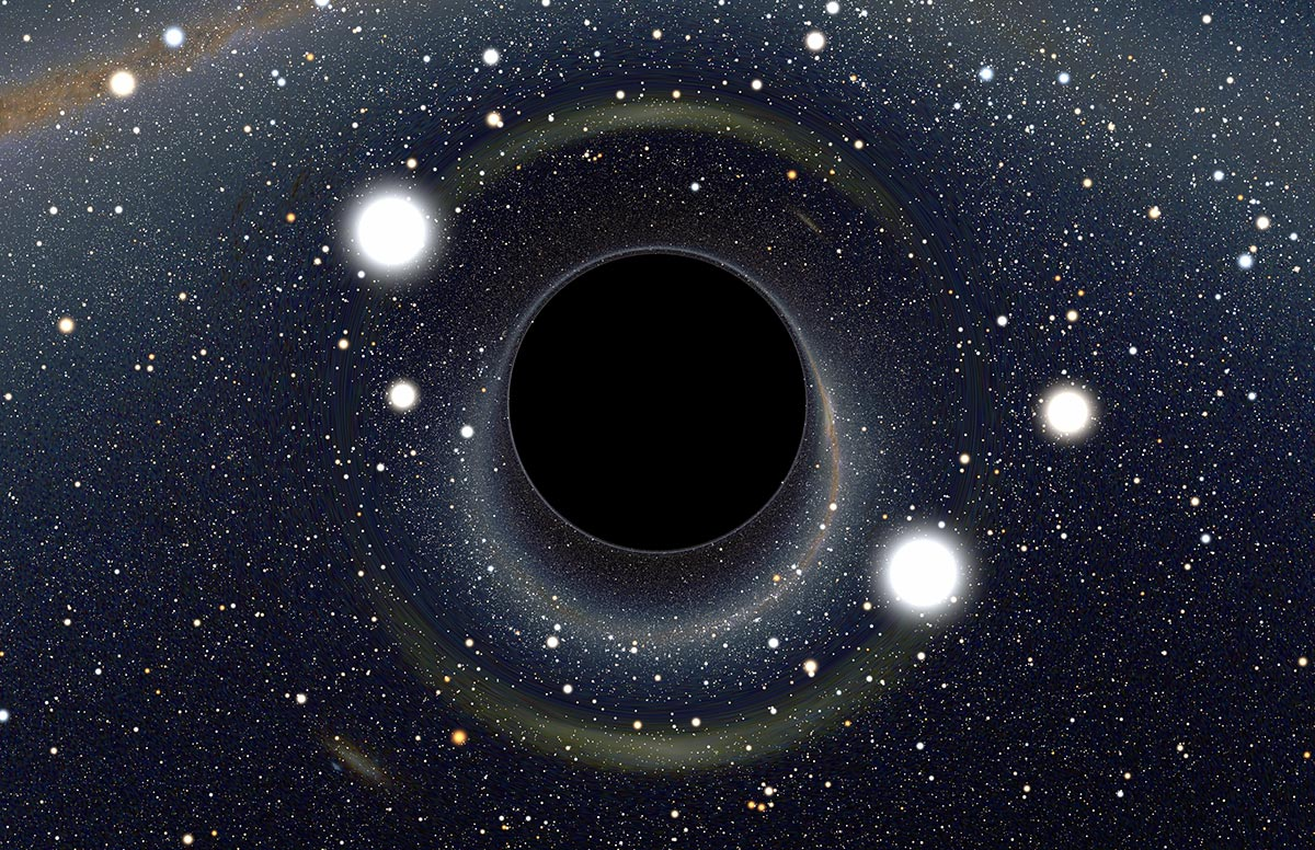 A computer-generated simulation of a black hole with two prominent light sources in the foreground, and hundreds of stars in the background