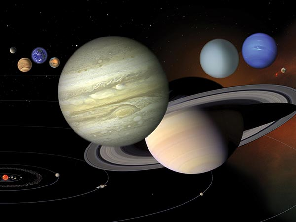 Foreground: the planets of the Solar System, scaled to size; Background: small versions distributed relative to their distance from the Sun