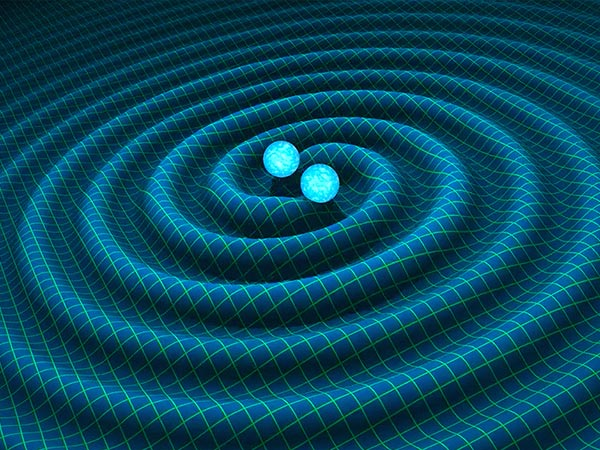 a simulated image with two spheres in the middle, and ripples extending out from them over a wireframe surface, depicting gravitational waves