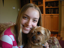 Abby, pictured here with her dog, Lucy, received a research grant to compare the bacteria in humans' and dogs' mouths. Photo courtesy of Abby.