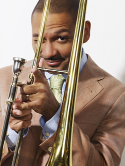 Delfeayo Marsalis winking through his trombone