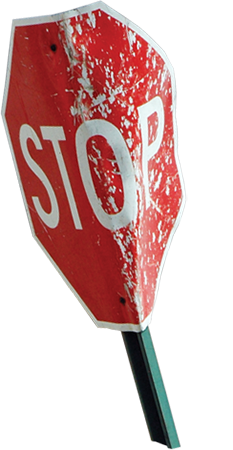 A tornado's powerful winds can bend a stop sign. Image Courtesy of The Field Museum