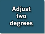 "Sign with the advice for saving energy ""Adjust two degrees"""