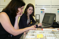 2008 intern Alex Rodriguez (right) works with AMNH conservator Lisa Elkin to develop collection assessment tools