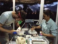 CBC Director Ana Porzecanski and Spencer Galen prepare field samples in Cuba.