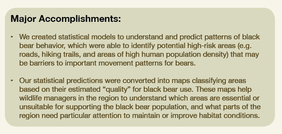 Accomplishments of the CBC's research on human impacts on black bear ecology in Nevada