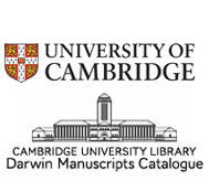 "White background with a coat of arms, an illustration of a building and the words, ""Cambridge University Library, Darwin Manuscripts Catalogue."""