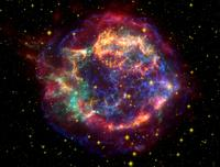 A false color image of Cassiopeia using observations from both the Hubble and Spitzer telescopes as well as the Chandra X-ray Observatory. Courtesy: NASA/JPL-Caltech