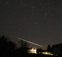 Geminid Meteor Over House