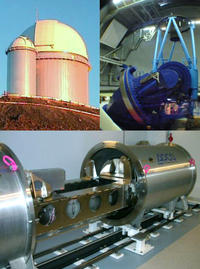 Montage of the HARPS spectrograph and the 3.6m telescope at La Silla. The upper left shows the dome of the telescope, while the upper right illustrates the telescope itself. The HARPS spectrograph is shown in the lower image during laboratory tests. The vacuum tank is open so that some of the high-precision components inside can be seen. Credit: European Southern Observatory