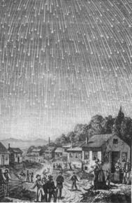 An artist's rendering of the 1833 Leonid meteor shower.