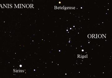 Orion, Canis Major and Canis Minor. Courtesy Starry Night Education