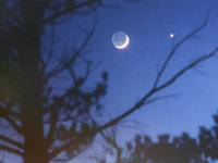 Venus and Moon with Earthshine
