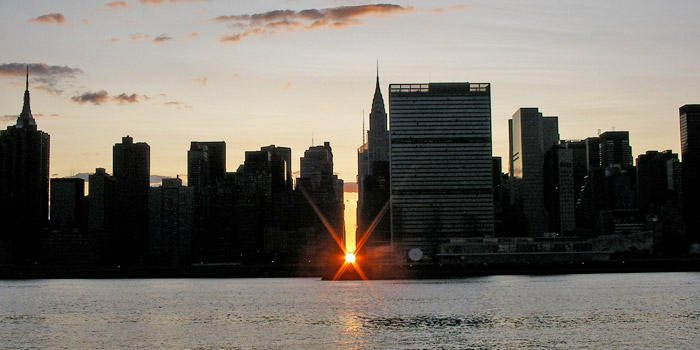 Manhattanhenge from Queens