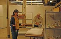 Professor Royal Mapes and Fossil Collections Manager Ruth O'Leary orchestrate and unpack fossils. Stephen Thurston
