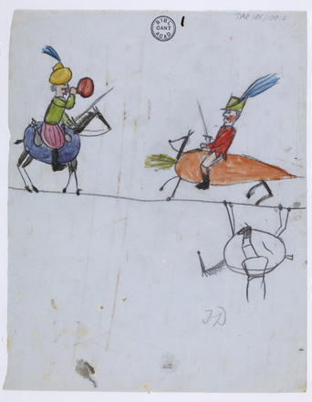 On the back of a page of the Origin of Species manuscript, Darwin's son, Francis, painted this watercolor scene of an eggplant and carrot cavalry. (Cambridge University Library, DAR 185.109.f6v)