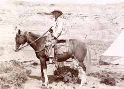 Walter Granger and 'Morman' in the field, Utah, 1895