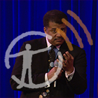 Podcast graphic overlaid on photo of Neil deGrasse Tyson with microphone.