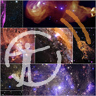 Multiple images of galaxies and clusters of stars beneath the museum's podcast logo