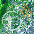 An aerial satellite photo of the Large Hadron Collider in Switzerland, with the AMNH podcast logo overlaid on top.