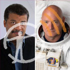 Neil deGrasse Tyson looks at the viewer from the left side, Astronaut Scott Kelly looks at the viewer from the right side, wearing a spacesuit