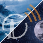 Image is divided diagonally. Upper left corner shows a wave crashing, lower right corner shows the moon in space. With museum podcast logo overlaid.