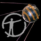 A NASA recreation of Sputnik 1 against a black background, with Museum podcast logo overlaid on top