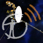 An artist rendering of the Voyager space craft flies through the dark and starry sky, with the museum's podcast logo overlaid on top