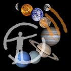 Satellite images of the eight planets and the moon, with podcast logo overlay.