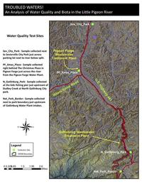 A map showing water sample collection sites along the Little Pigeon River.
