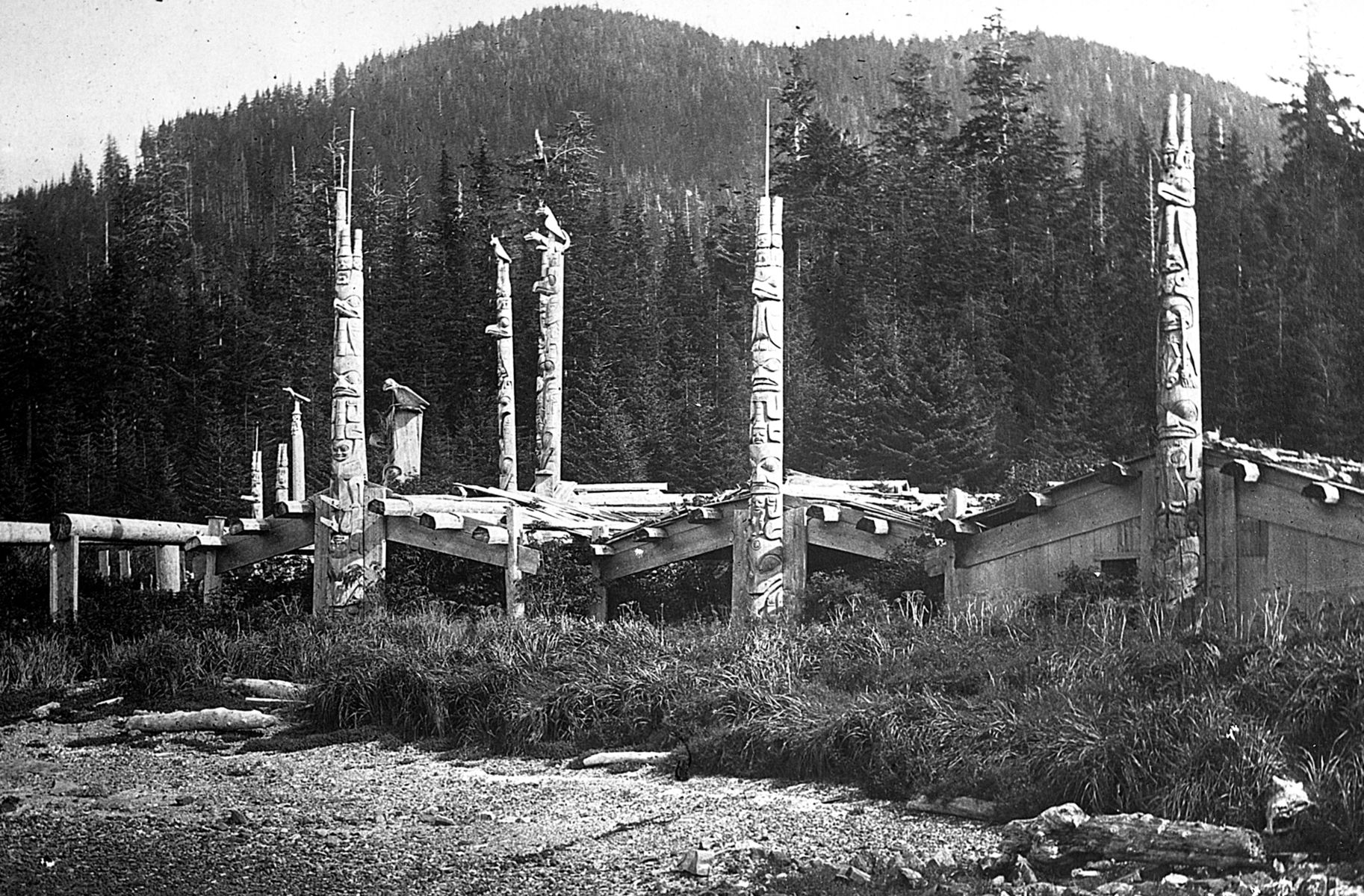 A row of houses with totems in front.