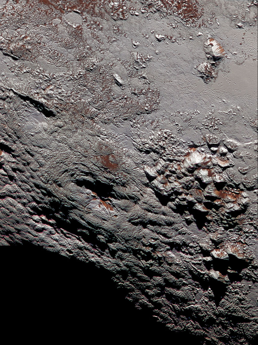 Close up of the surface of Pluto.