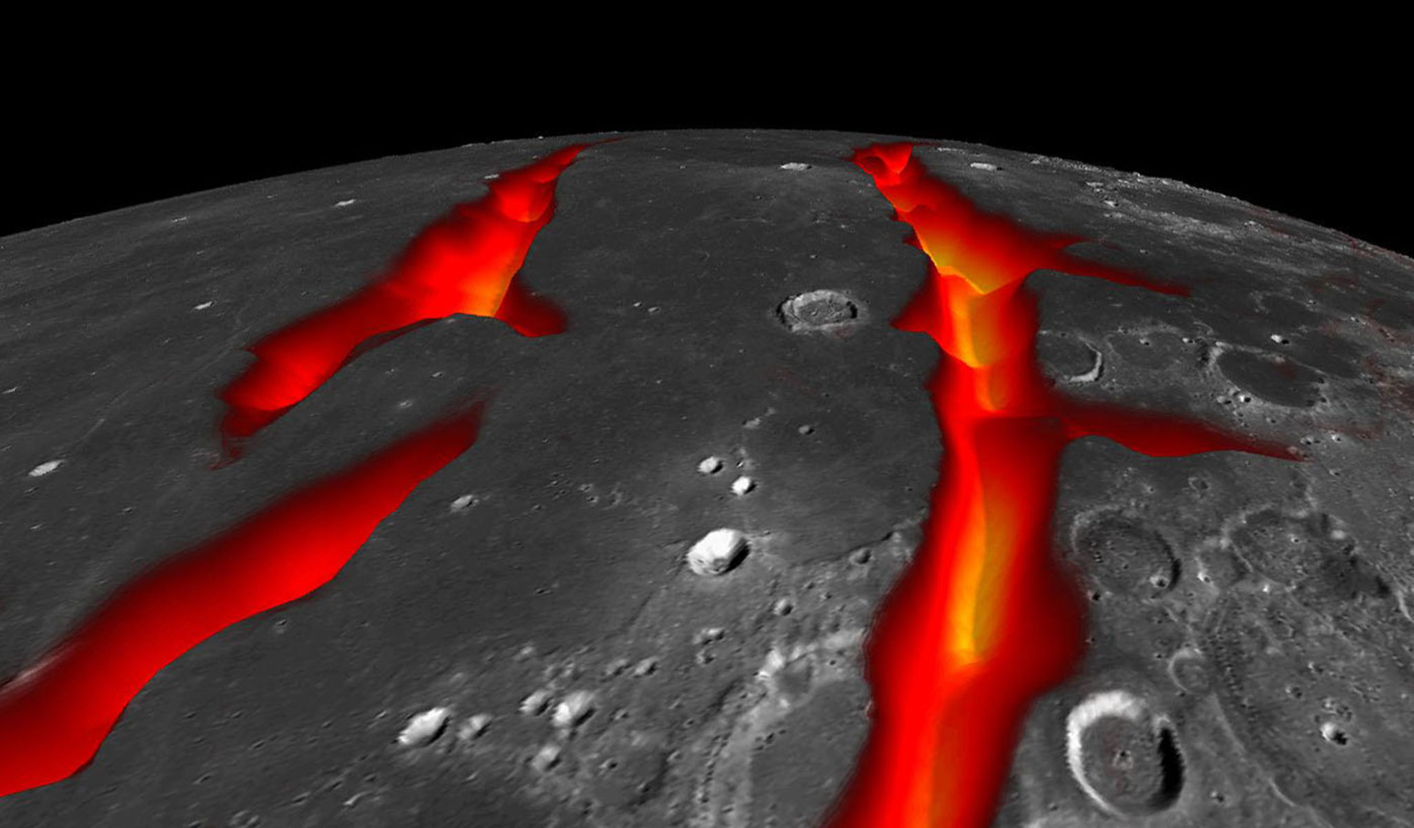 Rendering depicts the surface of the moon with two bright streams of lava flowing across the surface.