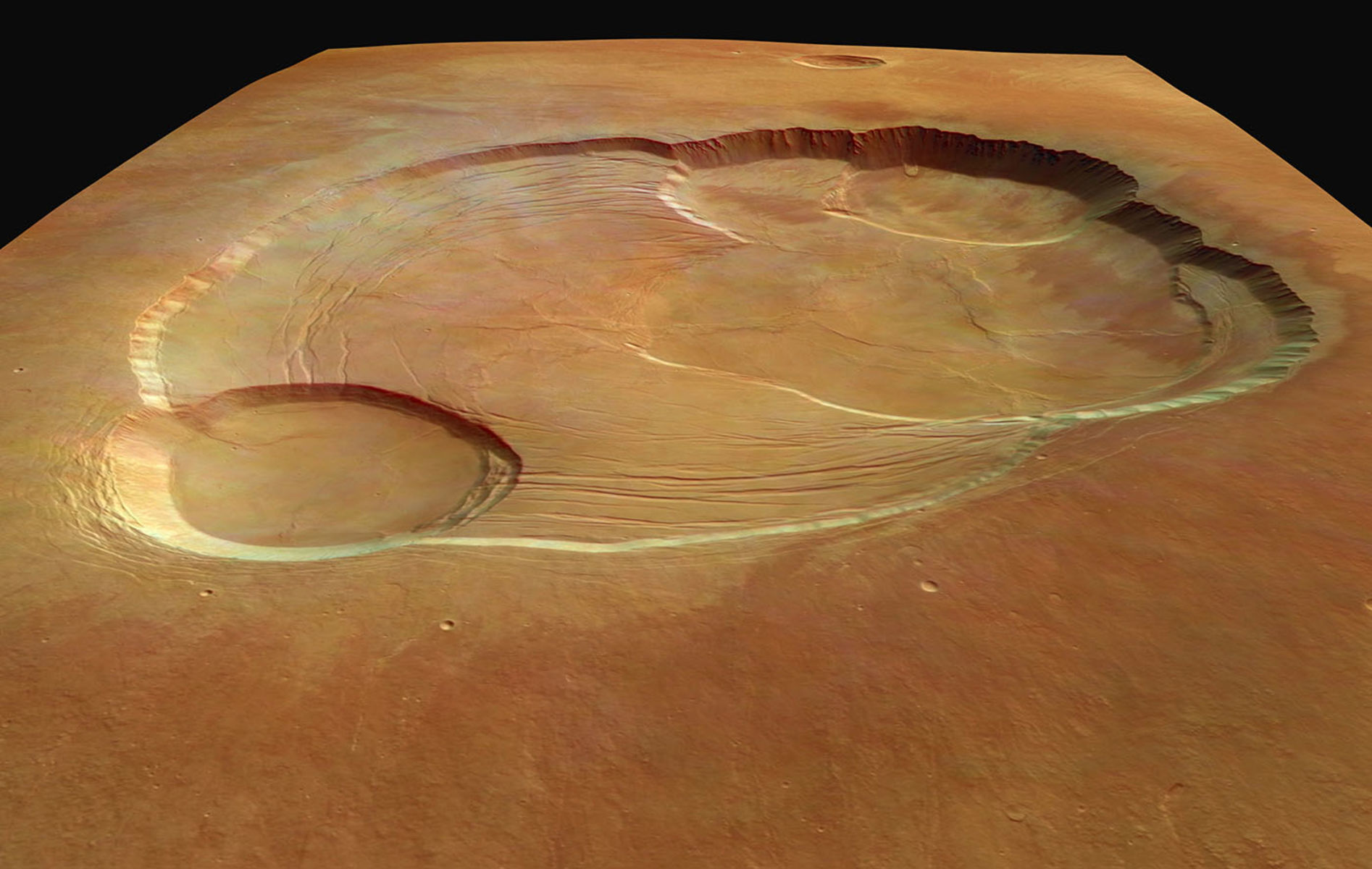 Multi-leveled crater on the surface of Mars.