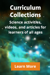 A flyer for curriculum collections, noting science activities, videos, and articles