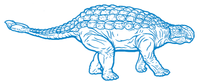 Blue drawing of an ankylosaurus-like dinosaur.