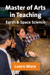 "Four people standing around a huge globe. Superimposed words read: ""Master of Art in Teaching. Earth and Space Science."""