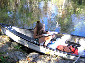 I am recording my observations from my first site while sitting in the canoe.
