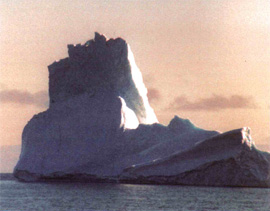 A typical iceberg floating in or out of the bay
