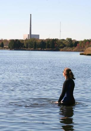 Figure 1: Anastasia near the Oyster Creek Nuclear Generating Station.