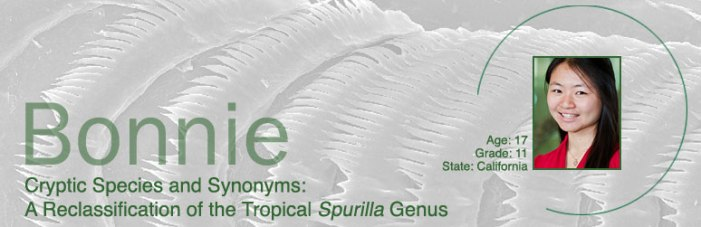 "Head shot of 11th grade girl Bonnie, with the title, ""Cryptic Species and Synonyms: A Reclassification of the Tropical Spurilla Genus."""