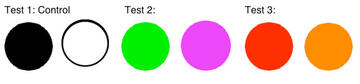 Figure 2: Sample Colors. These are samples of the colors used in my experiment for the different tests.